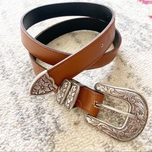 Accessories - Vintage Genuine Leather Brown Western Buckle Belt